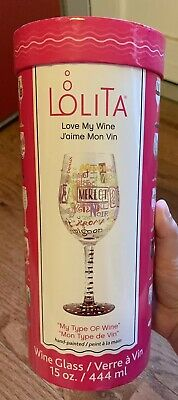 "Lolita Love My Wine 15oz Hand Painted Wine Glass Bling ""My Type of Wine"""