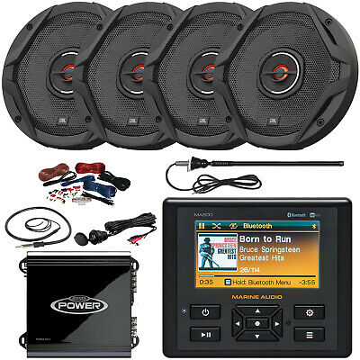 """Marine Audio MA500 Stereo, 4 x 6.5"""" Speakers, 2-Channel Amplifier, Accessories"""