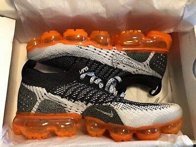 Nike Air Vapormax Flyknit 2 White Orange Black 942842-106 Mens 7.5 / Women's 9