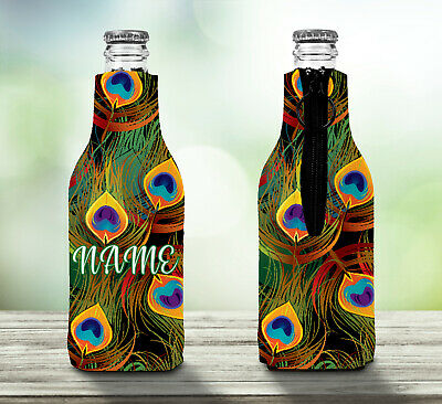 Peacock Feathers Personalised Stubby Holder Zip Up Bottle Cooler Collapsible