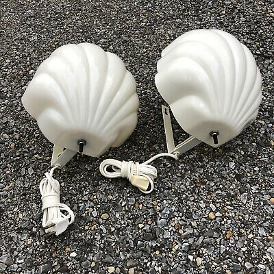 Vintage Pair Art Deco Wall Mount  Sconces Clam Scalloped Shell Shade Lights