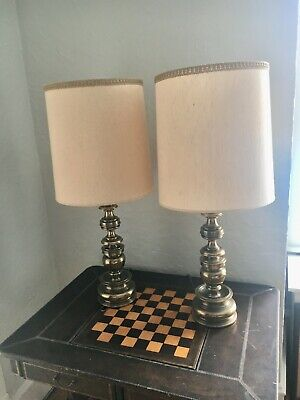 Pair of Vintage Stiffel Table Lamps with Original Shades Immaculate Condition