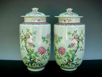 Pair Of Old Chinese Famille Rose Porcelain Jars And Covers