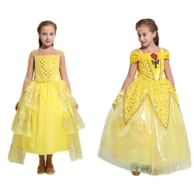 Girls Beauty and Beast Fairy Tale Cosplay Belle Fancy Dress Up Princess Costume