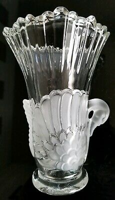 "Vintage Beautiful Clear Glass Crystal SWAN Vase 7 3/4"" Tall X 5 1/4"" Mikasa"