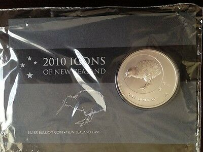 2010 New Zealand Kiwi $1 1oz .999 Pure Silver Carded Coin Rare Series