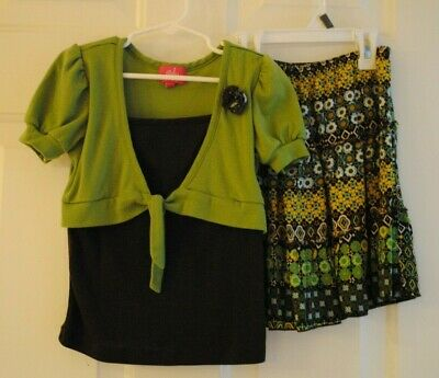Girls 2 Piece Dressy Skirt with Matching Top Brown Green Flower Size 6X