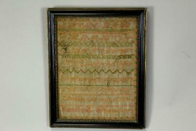 """A Great 19Th C Needlework Sampler  """"Emily E Saunders"""" Dated 1888 Unusual Colors"""