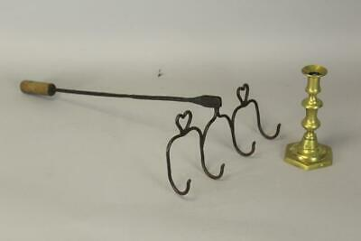 A Very Rare 18Th C Heart Decorated Wrought Iron Fish Roaster With A Long Handle