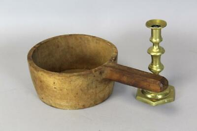 Very Rare Early 18Th C Carved Wooden Dipper In Maple With Handle In Old Surface