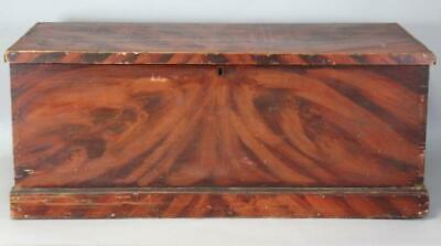 A Rare Decorated 19Th C New England Blanket Chest In Original Fancy Grain Paint