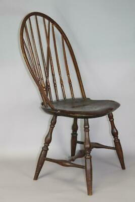 Rare 18Th C Rhode Island Brace Back Windsor Chair Bold Turnings Pipe Stem Back