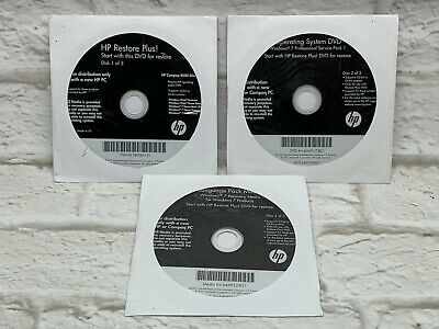 HP RESTORE PLUS 3 Disc Set For HP Compaq 8000 Elite Win 7 Pro OS W/ Drivers