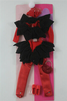 6in1 Fashion Christmas costume+hat+belt+bag+shoes FOR 11.5in.Doll Clothes Outfit
