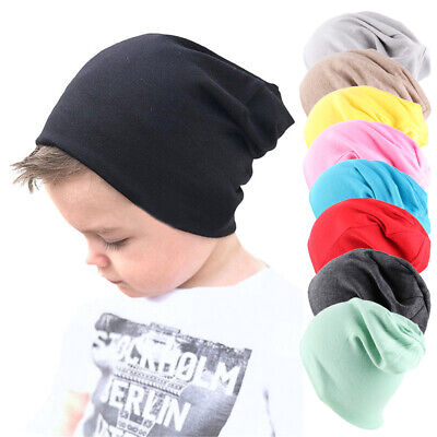 Knitted Soft Cotton Kids Slouchy Hat Winter Warm Beanies Solid Color Baby Caps