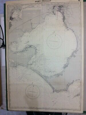 Vintage Nautical Charts of port Philip Bay, Geelong Harbour, Whitsunday