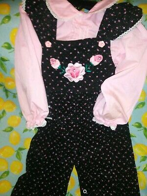 Adorable Vintage Baby Girls A Tiny Tots Original Top& Overalls Sz 24 M