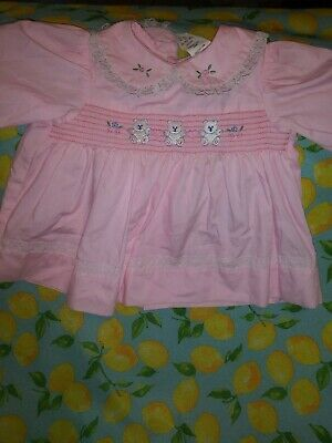Vtg Adorable Vintage Baby Girls Smocked Top Sz 3-6 Months