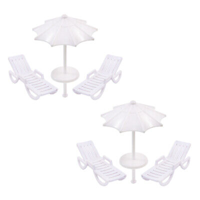 TYS22050 2 Sets Parasols Sun Loungers Deck Chairs Bench Settee 1:50 Model Train
