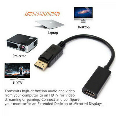 Displayport DP Male To HDMI Female Adapter Display Port Cable Converter Black