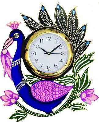 """New Antique Wood Wall Clock Peacock Hand Painted Wooden Clock Home Decor 15"""""""