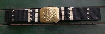 Thai police or security pistol belt with large brass buckle.
