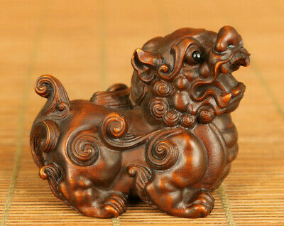 Asian rare old boxwood hand carved fortune Kylin statue netsuke decoration gift