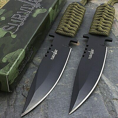 """2 x 7.5"""" TACTICAL COMBAT HUNTING BOWIE KNIFE Military Dagger Survival Blade"""
