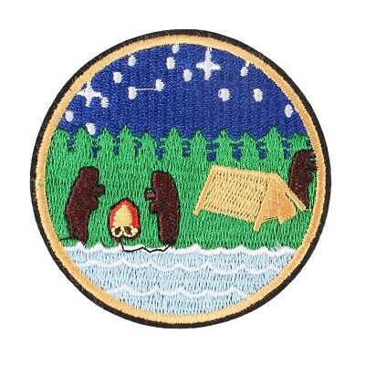 """Camping Scout Outdoor Embroidered Iron ON Patch Fabric Applique Round Badge 2.8"""""""