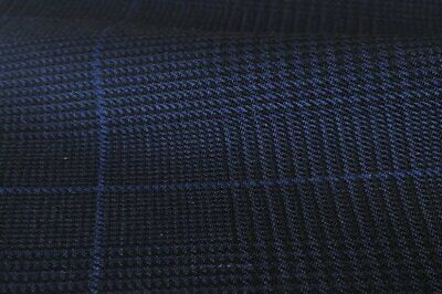 Navy Blue Plaid with Royal Blue Check 3.5mts All Wool Suiting Jacketing Fabric