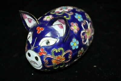 Collectible China Palace Cloisonne Brass Carve Lovely pig Noble Decorated Statue