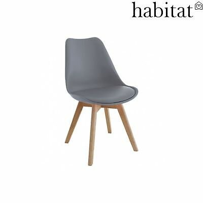 detailed look 9f9e0 f7a60 HABITAT JERRY SET of 4 Grey Dining Chairs with Solid Oak Legs