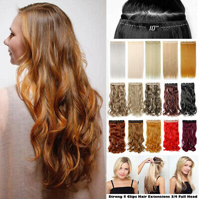 AU Curly Straight Synthetic Thick Half Head Hair Extension As Human Hairpeice i4
