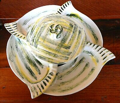 VINTAGE<><>Bowl w /Lid and 4 Relish or Veggie Dishes<><>CALIFORNIA POTTERY #222
