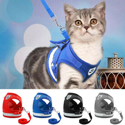 Adjustable Breathable Mesh Small Dog Cat Pet Harness and Leash Set Puppy Vest