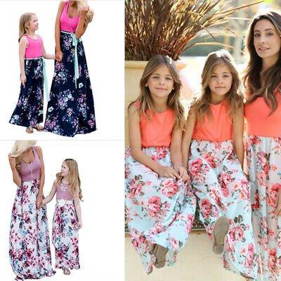 Family Dress Mother and Daughter Matching Girls Floral Outfits Dresses New 2019