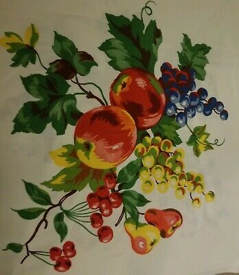VINTAGE Tablecloth 1940'S  Wilendur? Cherries Grapes Peaches Fruit