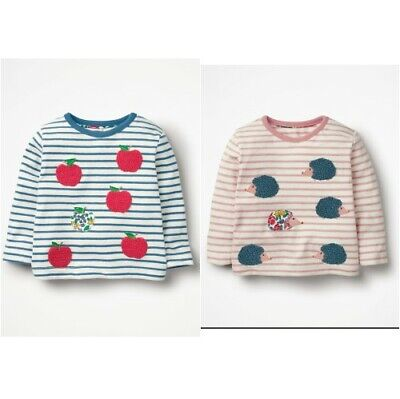 T-Shirt Top Baby Mini Boden Girls Crochet Rainbow Striped 0-3 to 2-3y Long Slee