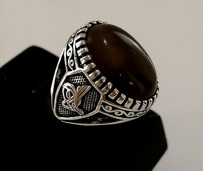 Turkish 925 Sterling Silver Agate Stone Men's Ring Size 9.25 Wgt: 10 gr #253
