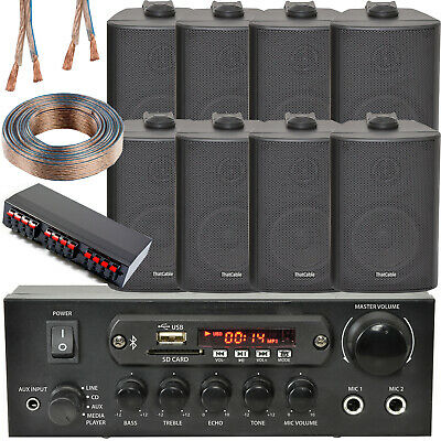 Bluetooth Wall Speaker Kit – 4 Zone Stereo Amp & 8x Black Wall Background Music
