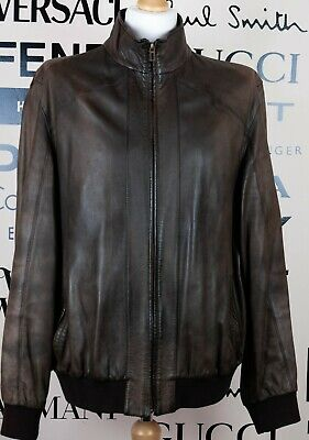 Marks & Spencer Mens Light Brown Leather Biker Jacket