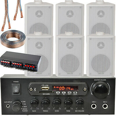Bluetooth Wall Speaker Kit – 3 Zone Stereo Amp & 6x White Wall Background Music