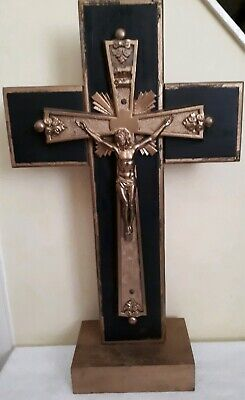 ANTIQUE 19th CENTURY FRENCH PRESSED GILDED BRASS ALTAR CROSS CRUCIFIX ~INRI