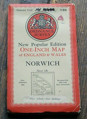 Old Os Map Norwich 1945 Cloth Backed One Inch Ordnance Survey Map No.126