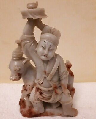 Antique Chinese Carved Stone Figure Of A Man And Unicorn Holding Incense Burner