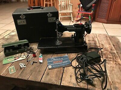 Vintage Singer Featherweight Sewing Machine 221-1 Portable w/ Case & Accessories