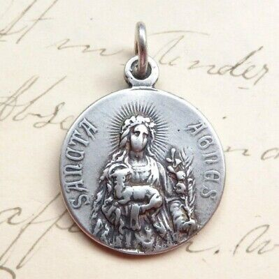 St Agnes / St Cecilia Medal - Sterling Silver Antique Replica