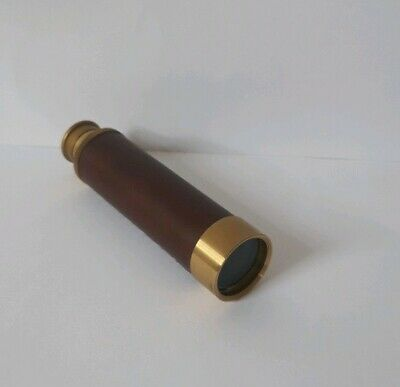 Hand Telescope Japan, 25 x 33 mm, Messing und Echtleder, ca 60er, 70er (c98)