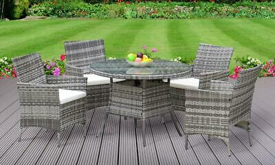 5PC Rattan Dining Set Outdoor Garden Patio Furniture - 4 Chairs & Round Table
