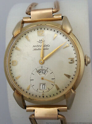 Scarce Vintage 14k Gold 1950s Movado Automatic Day Date Calendar Mens Watch